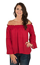 Peach Love Women's Red Off Shoulder Long Sleeve Fashion Top