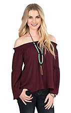 Peach Love Women's Burgundy Off Shoulder Long Sleeve Fashion Top