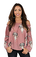 Peach Love Women's Dusty Pink Indian Headdress Skull Print Off the Shoulder Fashion Top