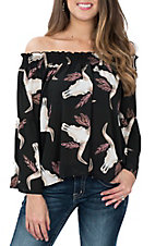 Peach Love Women's Black Skull Print Off the Shoulder Fashion Shirt