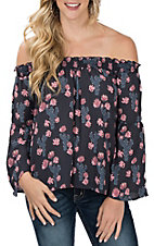 Peach Love Women's Navy Cactus Print Off the Shoulder Fashion Shirt