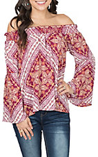 Peach Love Women's Berry Bandana Off the Shoulder Fashion Shirt