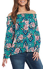 Berry N Cream Women's Floral Aztec Print Off the Shoulder Fashion Shirt