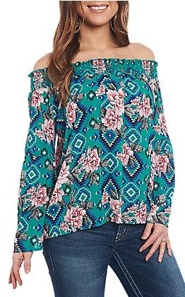 Berry N Cream Women's Floral Aztec Print Off the Shoulder Fashion Shirt