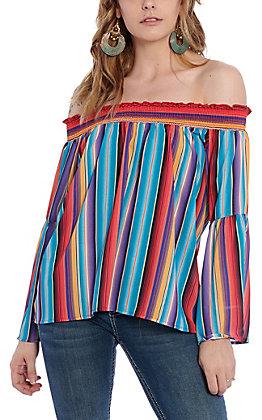 Peach Love Women's Serape Off Shoulder Bell Sleeve Fashion Top