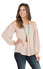 Fantastic Fawn Women's Khaki Cold Shoulder Fashion Top