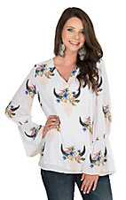 Peach Love Women's Cream with Floral Skull Print Long Bell Sleeve Fashion Top