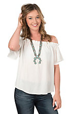 Peach Love Women's Off White with Ruffled Elastic Top Short Sleeve Fashion Top