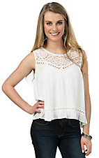 PPLA Women's White with Lace Sleeveless Crop Top