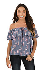 Peach Love Women's Dusty Blue Off the Shoulder Cactus Top