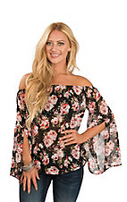 Peach Love Women's Black Floral Off the Shoulder Top