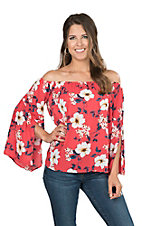 Peach Love Women's Red Floral Off Shoulder Fashion Top