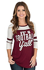 Lovely Souls Women's Maroon with It's Football Yall Screen Print and White Shoulders on 3/4 Sleeves Casual Knit Top