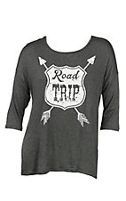 Lovely Souls Women's Charcoal with Ivory Road Trip Screen Print 3/4 Sleeve Dolman Style Casual Knit Top - Plus Size