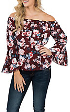 Berry N Cream Women's Maroon Floral Fashion Shirt
