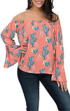 Peach Love Women's Coral Cactus Print Off the Shoulder Fashion Shirt