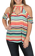 Peach Love Women's Coral and Mint Stripe Fashion Shirt