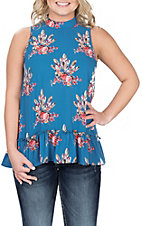 Peach Love Women's Blue Feather Print Cold Shoulder Ruffle Fashion Shirt