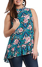 Berry N Cream Women's Teal Floral & Aztec Print Tank Top