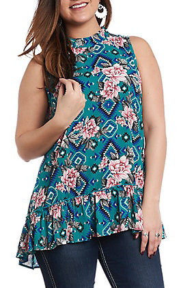 Berry N Cream Women's Teal Floral & Aztec Print Tank Top