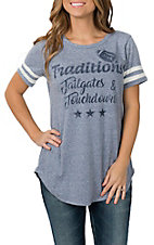 Lovely Souls Women's Blue Traditions Tailgates Touchdowns Stripe Sleeve Casual Knit Shirt