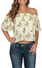 Peach Love Women's Yellow Striped Cactus Print Cropped Off the Shoulder Fashion Top