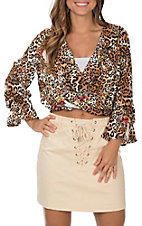 Peach Love Women's Leopard and Skull Print Long Sleeve Crop Top Fashion Shirt