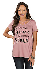 Lovely Souls Women's Mauve Amazing Grace Short Sleeve Casual Knit Top