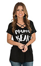 Lovely Souls Women's Black Criss Cross Neck Mama Bear Knit Shirt