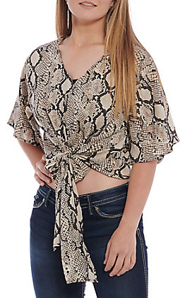 Berry N Cream Women's Tan and Black Snake Print Tie Front Fashion Top