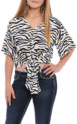 Berry N Cream Women's White Zebra Print Tie Front Fashion Top