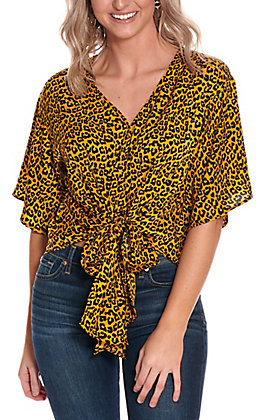 Berry N Cream Women's Mustard Leopard Print Tie Front 3/4 Sleeve Fashion Top