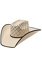 Twister 10X Criss Cross Taupe & Natural Vent Bound Edge Straw Cowboy Hat