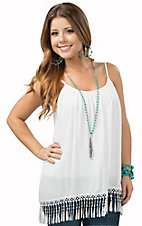 Surf Gypsy Women's White with Crochet Fringe Hem Tank