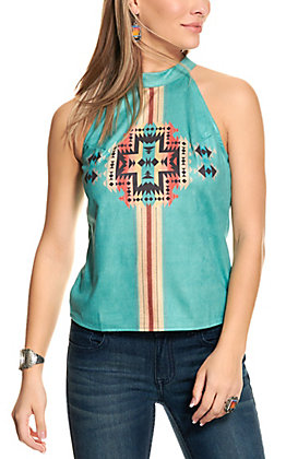 Fashion Express Women's Turquoise with Aztec Accent Halter Neck Top