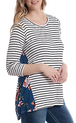 Lovely Souls Women's Striped With Floral Sides 3/4 Sleeve Casual Knit Top