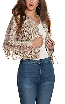 Ethyl Women's Cream with Snake Print Faux Suede Fringe Long Sleeve Cropped Jacket