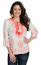 Sweet Sinammon Women's Ivory with Coral Embroidery Top