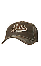 Justin Dark Brown Oilcloth with Contrast Stitch Logo Cap