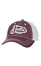 Justin Burgundy with White Embriodered Logo and White Mesh Back Velcro Back Cap