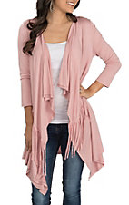 James C Women's Rose with Fringe 3/4 Sleeve Cardigan