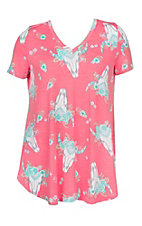 James C Women's V Neck Pink Cow Skull Print Short Sleeve Fashion Top - Plus Size