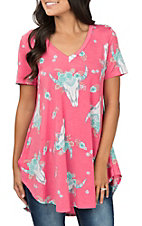 James C Women's V Neck Pink Cow Skull Print Short Sleeve Fashion Top
