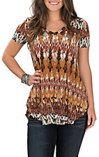James C Women's Brown and Rust Ikat Print Short Sleeve Casual Top