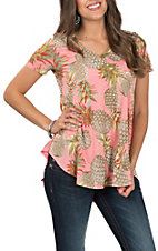 James C Women's Short Sleeve V-Neck Pineapple Print Short Sleeve Top