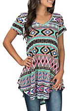 James C Women's Aztec V-Neck Print Top