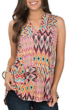 James C Women's Sleeveless Pink, Turquoise and Yellow Ikat Print Fashion Top