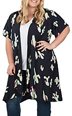 James C Women's Navy Cactus Print Short Sleeve Kimono - Plus Sizes