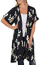 James C Women's Navy Cactus Print Short Sleeve Kimono