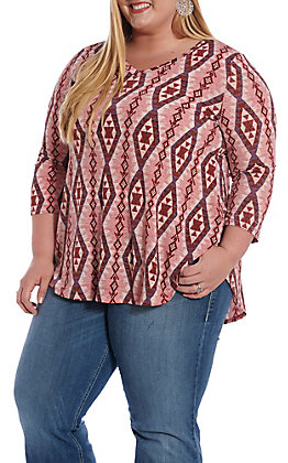 f9e8375c055 Honey Me Women s Mauve Aztec Print Fashion Top - Plus Size